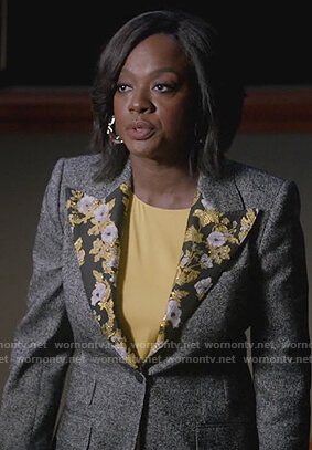 Annalise's gray blazer with floral lapel on How to Get Away with Murder
