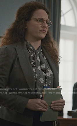 Nina Cummings's gray floral tie blouse on Madam Secretary