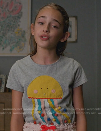 Anna's gray jellyfish tee on American Housewife