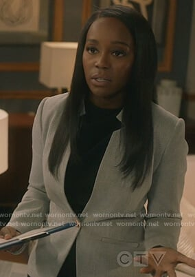 Michaela's gray textured blazer on How to Get Away with Murder