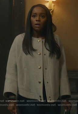 Michaela's gray button up jacket on How to Get Away with Murder