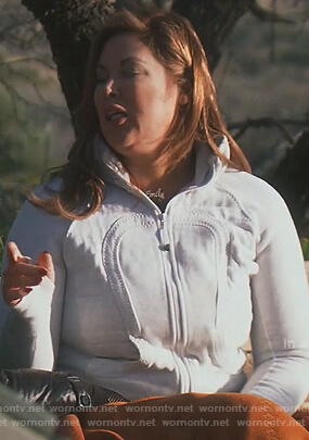 Emily's gray zip up jacket on The Real Housewives of Orange County