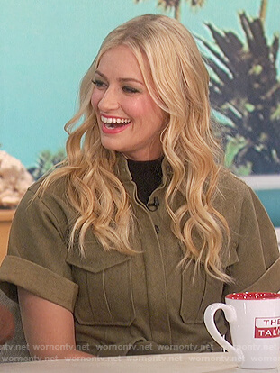 Beth Behrs's green utility dress on The Talk