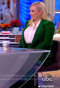 Meghan's green blazer and pants on The View