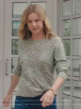 Nic's green diamond knit sweater on The Resident