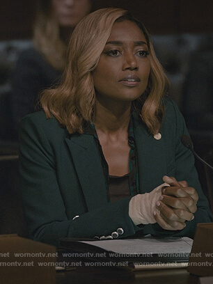 Daisy's green double breasted blazer on Madam Secretary