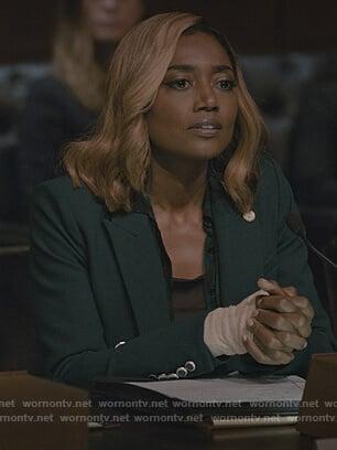 Daisy's green double breasted blazer on Madam Secretary