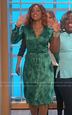 Eve's green satin leopard print dress on The Talk