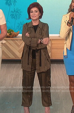 Sharon's green satin drawstring jacket on The Talk