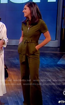 Abby's green denim jumpsuit on The View