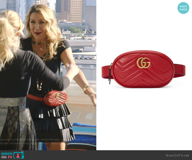GG Marmont 2.0 Matelassé Leather Belt Bag by Gucci worn by Kary Brittingham  on The Real Housewives of Dallas