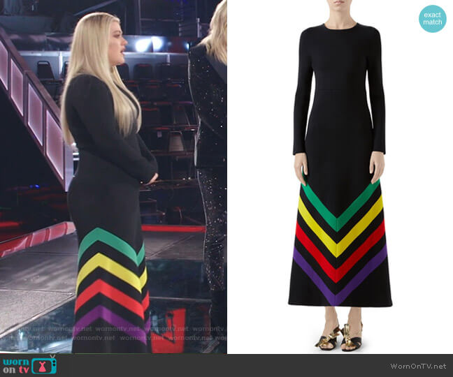 Intarsia Stripe Long Sleeve Sweater Dress by Gucci worn by Kelly Clarkson  on The Voice