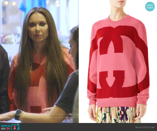 Interlocking Intarsia GG Wool Sweater by Gucci worn by LeeAnne Locken  on The Real Housewives of Dallas