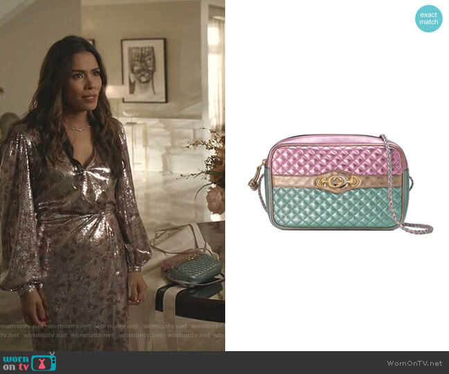 Laminated Leather Small Shoulder Bag by Gucci worn by Cristal Jennings (Daniella Alonso) on Dynasty