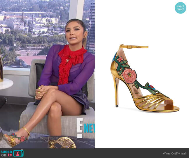 Ophelia Embroidered Sandal by Gucci worn by Erin Lim  on E! News