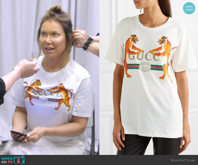 Oversized Printed Jersey T-shirt by Gucci worn by LeeAnne Locken  on The Real Housewives of Dallas