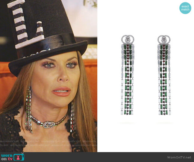 Crystal Web drop earrings by Gucci worn by LeeAnne Locken  on The Real Housewives of Dallas