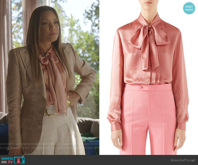 Tie-Neck Washed Silk Satin Shirt by Gucci worn by Dominique Deveraux (Michael Michele) on Dynasty