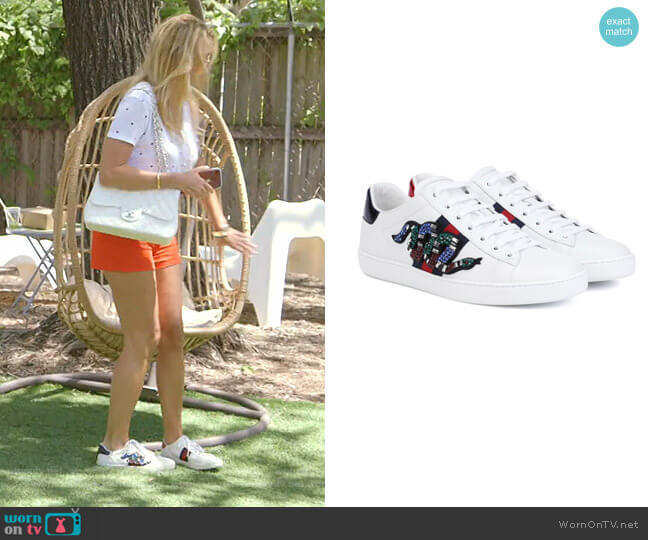 Ace Embroidered Sneaker by Gucci worn by Kary Brittingham  on The Real Housewives of Dallas