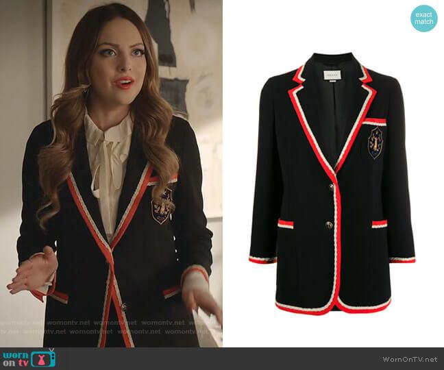 Contrast Trim Blazer Jacket by Gucci worn by Fallon Carrington (Elizabeth Gillies) on Dynasty