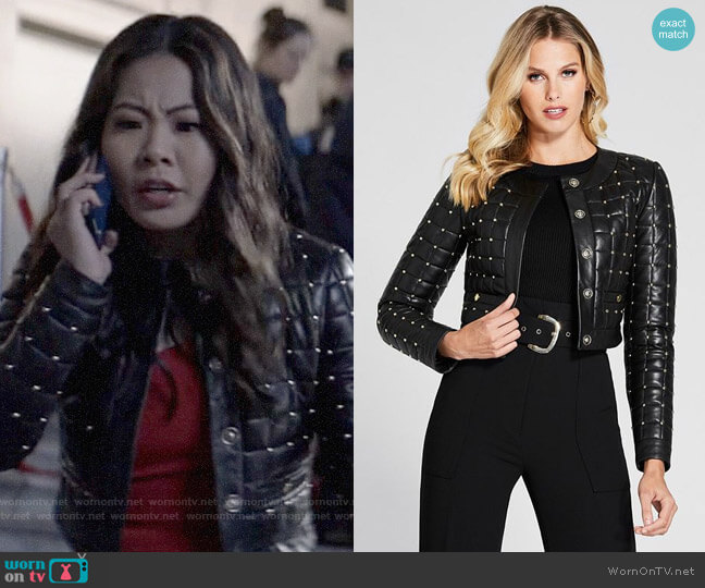 Guess Studded Leather Quilted Jacket worn by Mary Hamilton (Nicole Kang) on Batwoman
