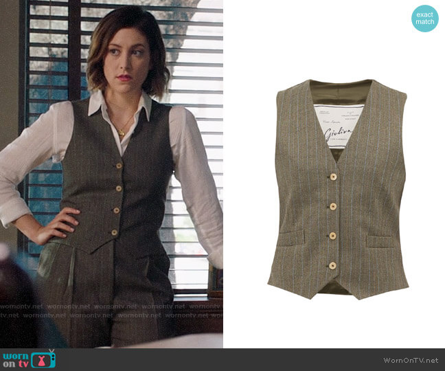 Giuliva Heritage Collection The Andrea pinstriped wool waistcoat worn by Sydney Strait (Caitlin McGee) on Bluff City Law