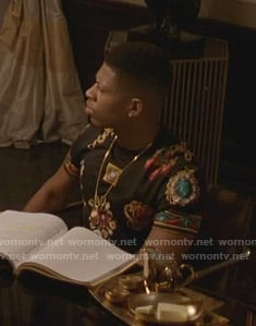 Hakeem's black jewel print tee on Empire