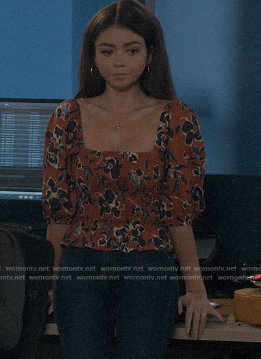 Haley's floral puff sleeve top on Modern Family