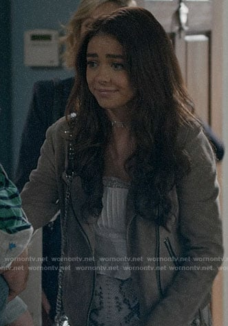 Haley's suede moto jacket on Modern Family