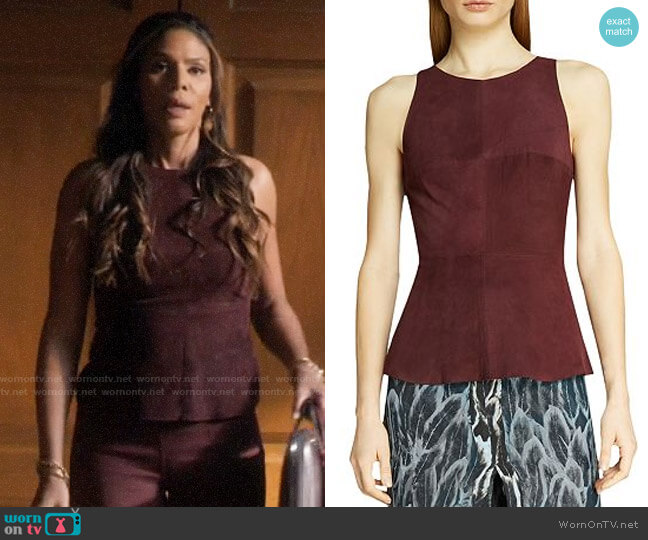 Halston Heritage Sleeveless Suede Top worn by Grace Greenleaf (Merle Dandridge) on Greenleaf