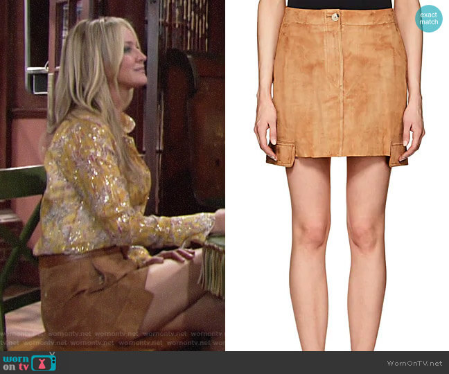 Helmut Lang Suede Miniskirt worn by Sharon Collins (Sharon Case) on The Young & the Restless