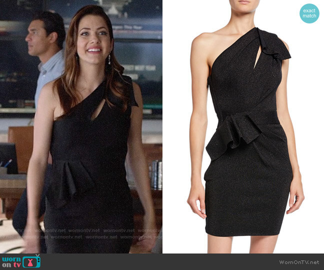 Herve Leger Double-Face Metallic One-Shoulder Dress worn by Andrea Rojas (Julie Gonzalo) on Supergirl