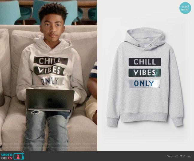 H&M Appliqued Hooded Sweatshirt worn by Jack Johnson (Miles Brown) on Blackish