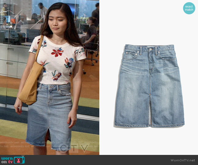 Madewell Denim High Rise Skirt worn by Joy (Jessica Lu) on God Friended Me