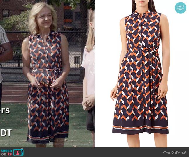 Hobbs London Suzanna Geometric Print Shirt Dress worn by Susan (Rachel Bay Jones) on God Friended Me