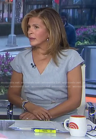 Hoda's grey belted v-neck dress on Today