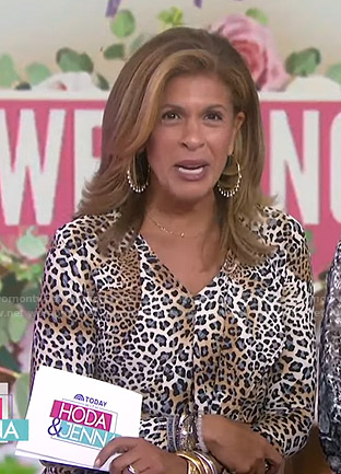 Hoda's cheetah print v-neck top on Today