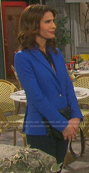 Hope's blue blazer with silver button on Days of our Lives