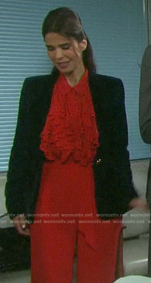Hope's red ruffled polka dot blouse and velvet blazer on on Days of our Lives