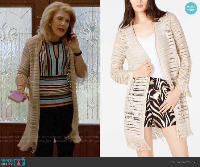 INC International Concepts Crochet Fringe Cardigan Completer worn by Diane Doyle (Victoria Clark) on Almost Family