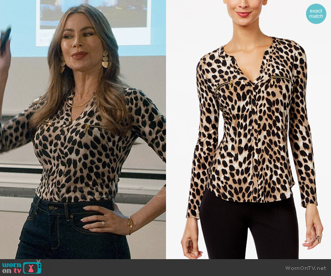 INC International Concepts Printed Zip-Pocket Top worn by  Gloria Pritchett (Sofia Vergara) on Modern Family