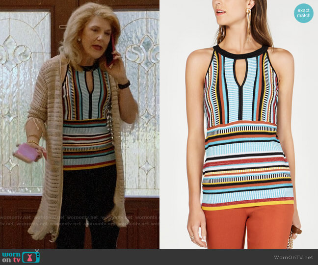 INC International Concepts Striped Knit Halter Top worn by Diane Doyle (Victoria Clark) on Almost Family