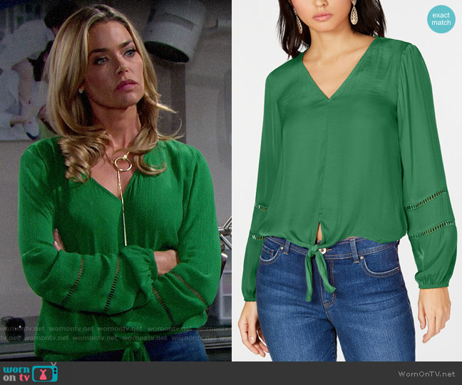 INC International Concepts Tie-Front Top worn by Shauna Fulton (Denise Richards) on The Bold & the Beautiful