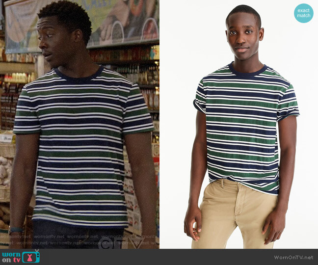 J. Crew Always 1994 T-shirt in blue-green stripe worn by Miles Finer (Brandon Micheal Hall) on God Friended Me