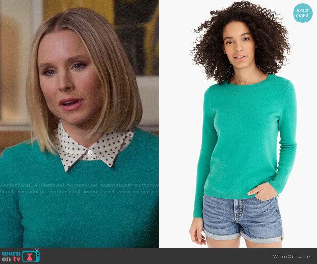 J.  Crew Long-sleeve everyday cashmere crewneck sweater in Bright Kelly worn by Eleanor Shellstrop (Kristen Bell) on The Good Place