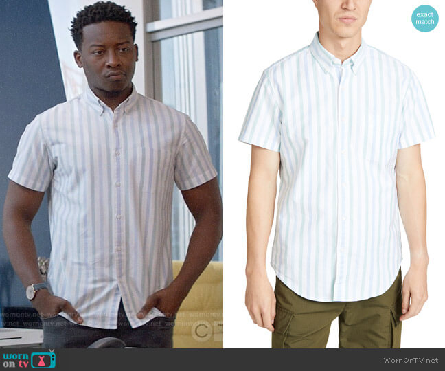 J. Crew Short Sleeve Pima Stretch Oxford Striped Shirt worn by Miles Finer (Brandon Micheal Hall) on God Friended Me