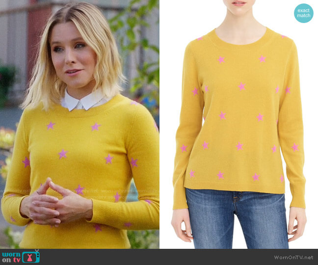 J. Crew Star Long Sleeve Everyday Cashmere Crewneck Sweater worn by Eleanor Shellstrop (Kristen Bell) on The Good Place