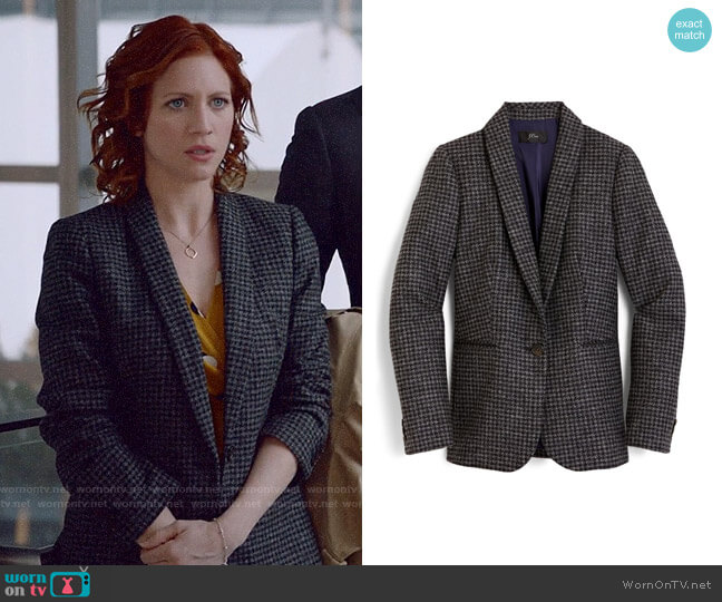 J. Crew Parke blazer in houndstooth wool worn by Julia Bechley (Brittany Snow) on Almost Family