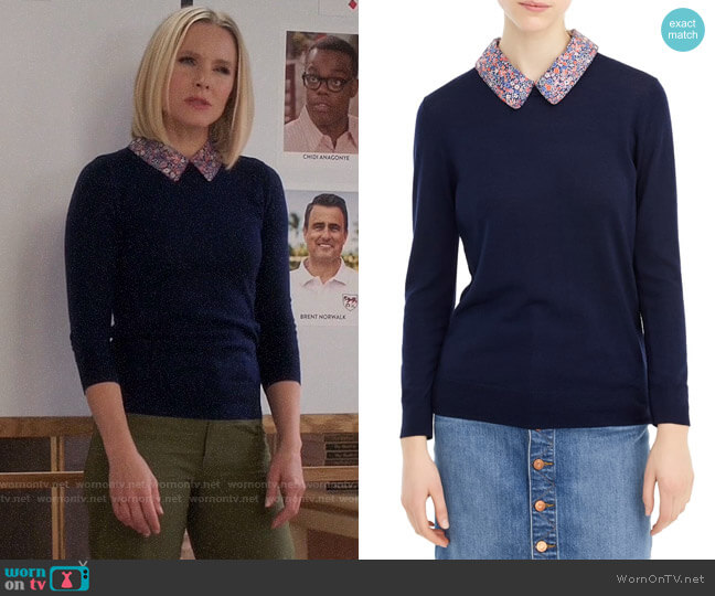J. Crew Tippi Sweater with Liberty Collar worn by Eleanor Shellstrop (Kristen Bell) on The Good Place