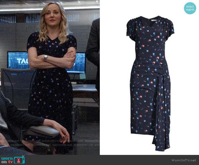 Jason Wu Collection Cascade Crepe Midi Dress worn by Marissa Morgan (Geneva Carr) on Bull